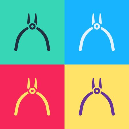 Pop art Pliers tool icon isolated on color background. Pliers work industry mechanical plumbing tool.  Vector Illustration