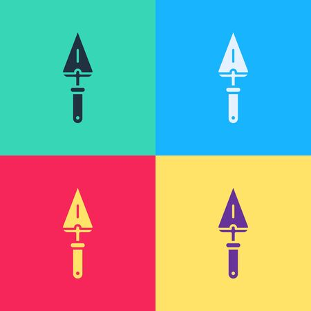 Pop art Trowel icon isolated on color background.  Vector Illustration