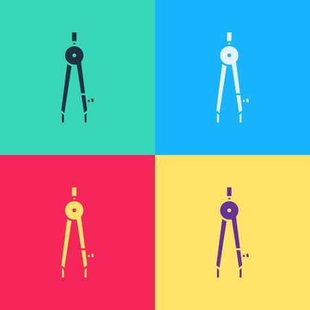 Pop art Drawing compass icon isolated on color background. Compasses sign. Drawing and educational tools. Geometric instrument.  Vector Illustration Illustration