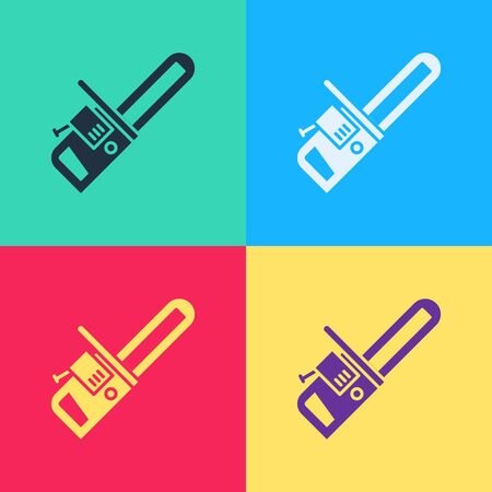 Pop art Chainsaw icon isolated on color background. Vector Illustration