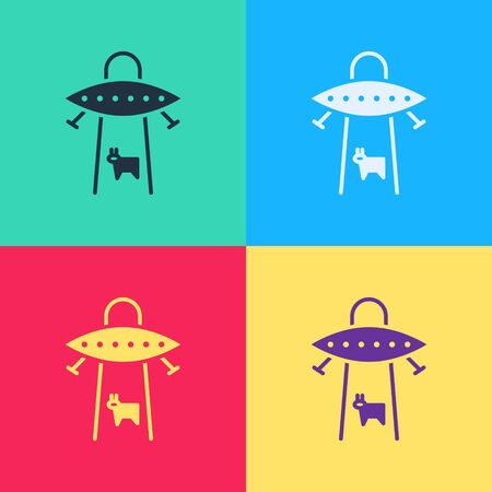 Pop art UFO abducts cow icon isolated on color background. Flying saucer. Alien space ship. Futuristic unknown flying object. Vector Illustration