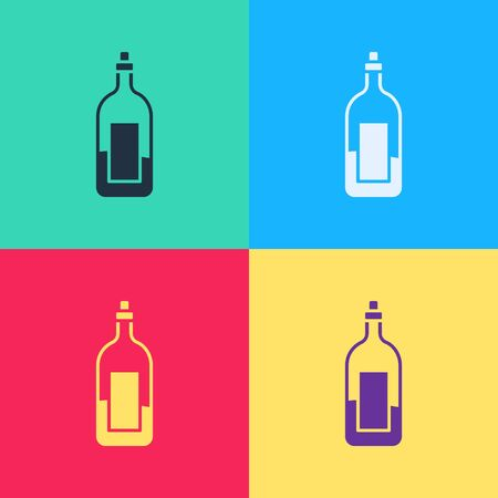 Pop art Bottle of wine icon isolated on color background. Vector Illustration