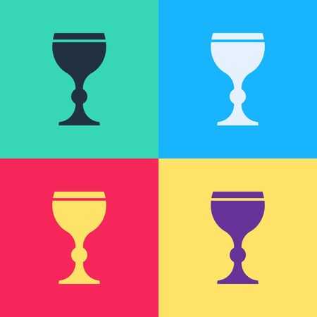 Pop art Wine glass icon isolated on color background. Wineglass icon. Goblet symbol. Glassware sign. Happy Easter.  Vector Illustration