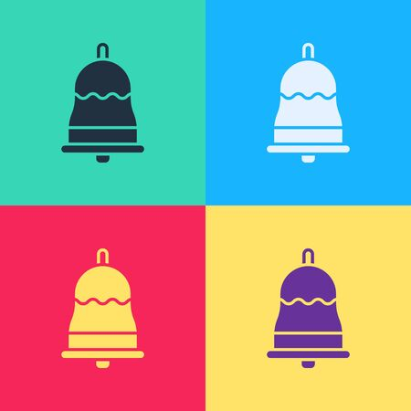 Pop art Ringing bell icon isolated on color background. Alarm symbol, service bell, handbell sign, notification symbol.  Vector Illustration
