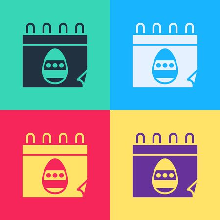 Pop art Calendar with Easter egg icon isolated on color background. Spring Christian Holiday symbol.  Vector Illustration