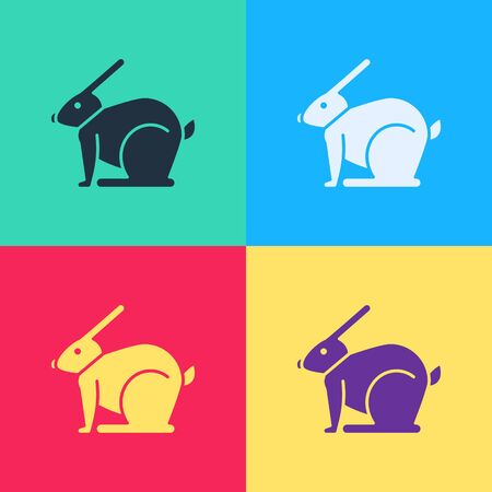 Pop art Easter rabbit icon isolated on color background. Easter Bunny.  Vector Illustration  イラスト・ベクター素材