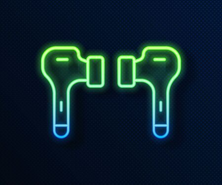 Glowing neon line Air headphones icon icon isolated on blue background. Holder wireless in case earphones garniture electronic gadget. Vector Illustration