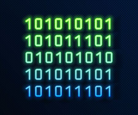 Glowing neon line Binary code icon isolated on blue background. Vector Illustration  イラスト・ベクター素材