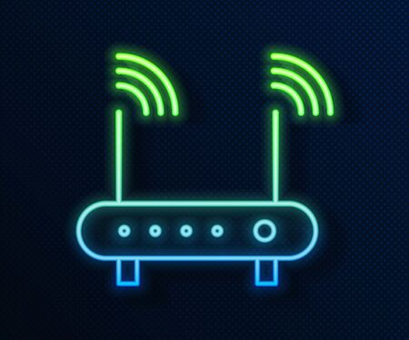 Glowing neon line Router and wifi signal symbol icon isolated on blue background. Wireless modem router. Computer technology internet. Vector Illustration Illustration
