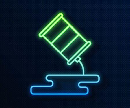 Glowing neon line Barrel oil leak icon isolated on blue background. Vector Illustration Stock Illustratie