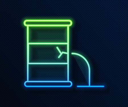 Glowing neon line Barrel oil leak icon isolated on blue background. Vector Illustration Ilustrace