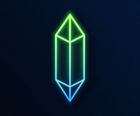 Glowing neon line Magic stone icon isolated on blue background. Fantasy crystal. Jewelry gem for game. Vector Illustration