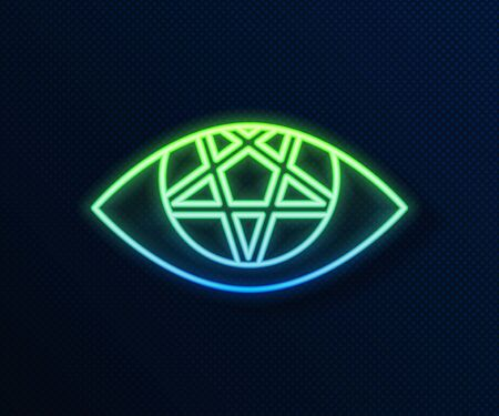 Glowing neon line Pentagram icon isolated on blue background. Magic occult star symbol. Vector Illustration
