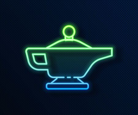 Glowing neon line Magic lamp or Aladdin lamp icon isolated on blue background. Spiritual lamp for wish. Vector Illustration Vettoriali
