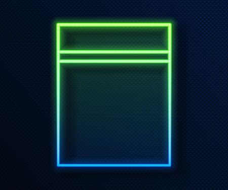 Glowing neon line Plastic bag with ziplock icon isolated on blue background.  Vector Illustration