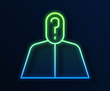 Glowing neon line Anonymous man with question mark icon isolated on blue background. Unknown user, incognito profile, business secrecy, obscurity. Vector Illustration