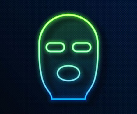 Glowing neon line Thief mask icon isolated on blue background. Bandit mask, criminal man. Vector Illustration