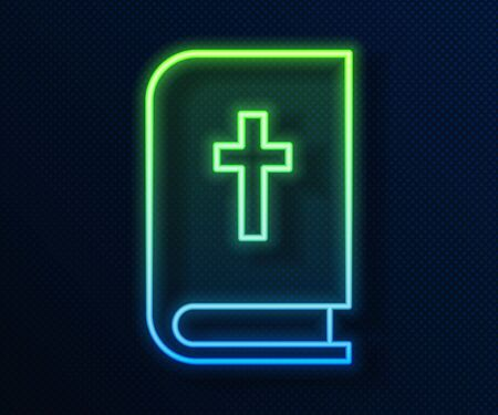 Glowing neon line Holy bible book icon isolated on blue background.  Vector Illustration Illustration