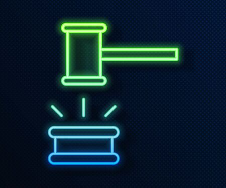 Glowing neon line Judge gavel icon isolated on blue background. Gavel for adjudication of sentences and bills, court, justice. Auction hammer. Vector Illustration