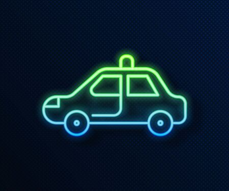Glowing neon line Police car and police flasher icon isolated on blue background. Emergency flashing siren. Vector Illustration Ilustração