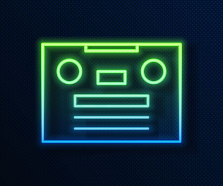 Glowing neon line Retro audio cassette tape icon isolated on blue background. Vector Illustration