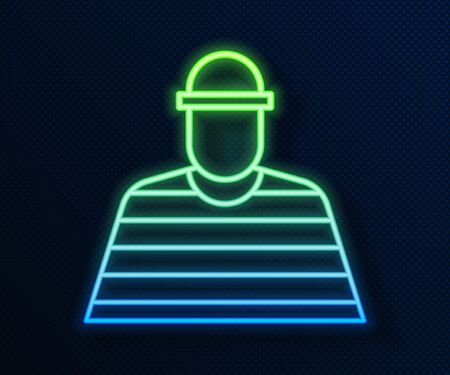 Glowing neon line Prisoner icon isolated on blue background. Vector Illustration Illustration