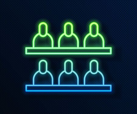 Glowing neon line Jurors icon isolated on blue background. Vector Illustration
