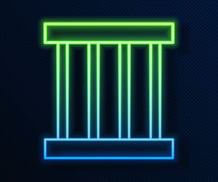 Glowing neon line Prison window icon isolated on blue background. Vector Illustration