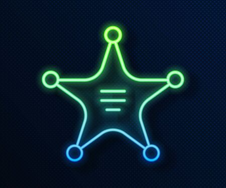 Glowing neon line Hexagram sheriff icon isolated on blue background. Police badge icon. Vector Illustration