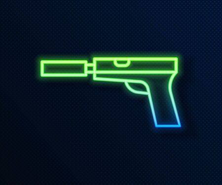 Glowing neon line Pistol or gun with silencer icon isolated on blue background. Vector Illustration Ilustrace