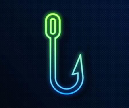 Glowing neon line Fishing hook icon isolated on blue background. Fishing tackle.  Vector Illustration Illusztráció