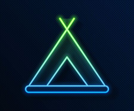 Glowing neon line Tourist tent icon isolated on blue background. Camping symbol.  Vector Illustration