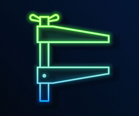 Glowing neon line Clamp tool icon isolated on blue background. Locksmith tool. Vector Illustration