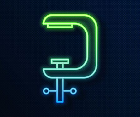 Glowing neon line Clamp and screw tool icon isolated on blue background. Locksmith tool. Vector Illustration