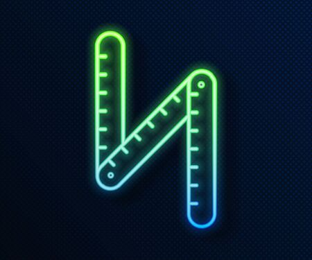 Glowing neon line Folding ruler icon isolated on blue background. Vector Illustration