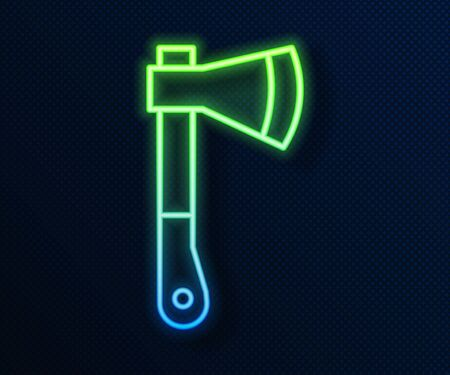Glowing neon line Wooden axe icon isolated on blue background. Lumberjack axe. Vector Illustration