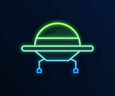 Glowing neon line UFO flying spaceship icon isolated on blue background. Flying saucer. Alien space ship. Futuristic unknown flying object. Vector Illustration