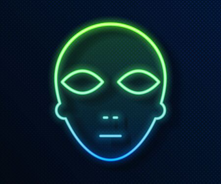 Glowing neon line Alien icon isolated on blue background. Extraterrestrial alien face or head symbol. Vector Illustration