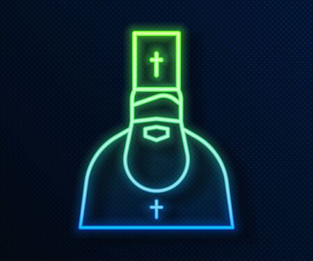 Glowing neon line Priest icon isolated on blue background. Vector Illustration Vectores