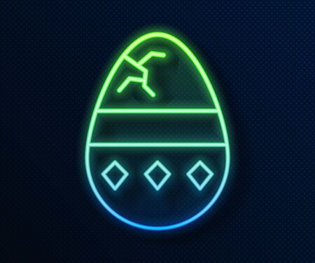 Glowing neon line Cracked egg icon isolated on blue background. Happy Easter. Vector Illustration