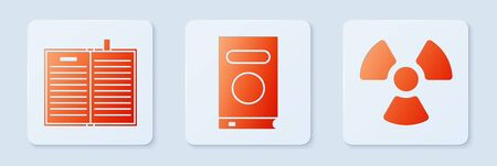 Set Book, Open science book and Radioactive. White square button. Vector