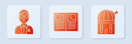 Set Open book, Scientist and Astronomical observatory. White square button. Vector