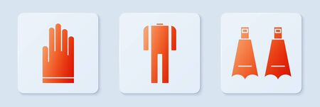 Set Wetsuit for scuba diving, Gloves and Rubber flippers for swimming. White square button. Vector