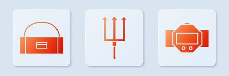 Set Neptune Trident, Case or box container for wobbler and Diving watch. White square button. Vector Illustration