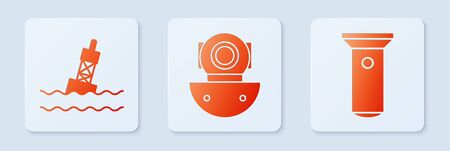 Set Aqualung, Floating buoy on the sea and Flashlight. White square button. Vector