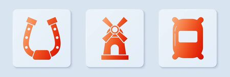 Set Windmill, Horseshoe and Bag of flour. White square button. Vector