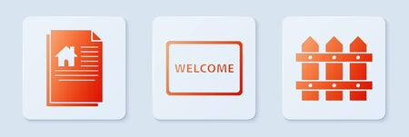 Set Doormat with the text Welcome, House contract and Garden fence wooden. White square button. Vector