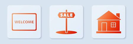 Set Hanging sign with text Sale, Doormat with the text Welcome and House. White square button. Vector