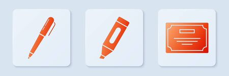 Set Marker pen, Pen and Certificate template. White square button. Vector 向量圖像