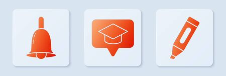 Set Graduation cap in speech bubble, Ringing bell and Marker pen. White square button. Vector